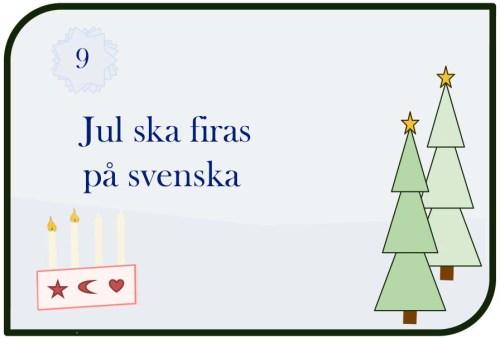 Jul ska firas på svenska