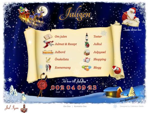 Startsidan på juligen.se. Skärmbild 2012-12-21.