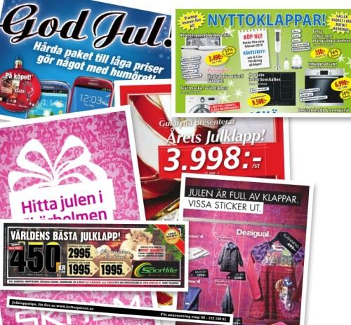 Annonser om julklappar i Metro 2012-12-06.